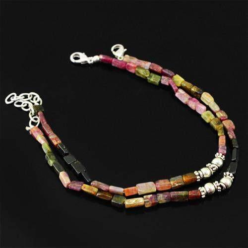 gemsmore:Natural Watermelon Tourmaline AAA Beads Anklet