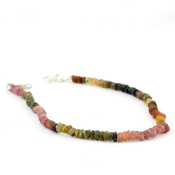 gemsmore:Natural Watermelon Tourmaline Bracelet Round Shape Untreated Beads