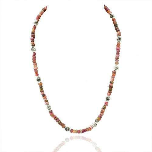gemsmore:Natural Watermelon Tourmaline Elegant Beads Necklace