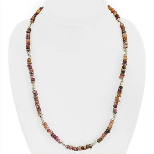 gemsmore:Natural Watermelon Tourmaline Faceted Beads Necklace