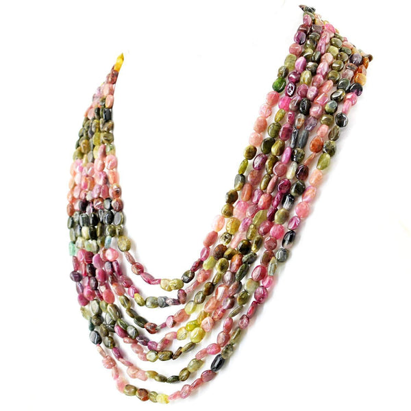 gemsmore:Natural Watermelon Tourmaline Necklace - 7 Lines Untreated Beads