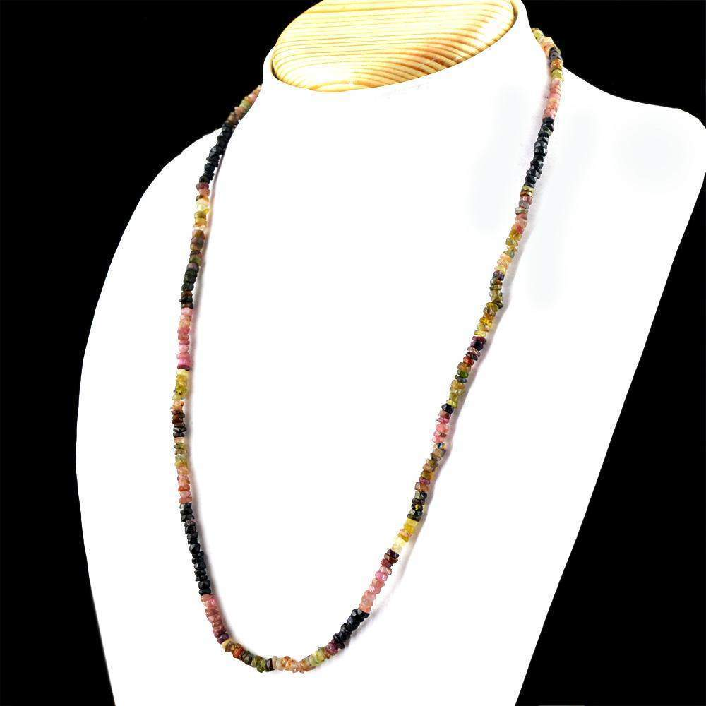 gemsmore:Natural Watermelon Tourmaline Necklace 20 Inches Long Faceted Round Beads