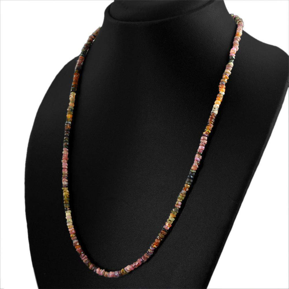 gemsmore:Natural Watermelon Tourmaline Necklace 20 Inches Long Round Faceted Beads