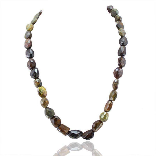 gemsmore:Natural Watermelon Tourmaline Necklace Faceted Beads