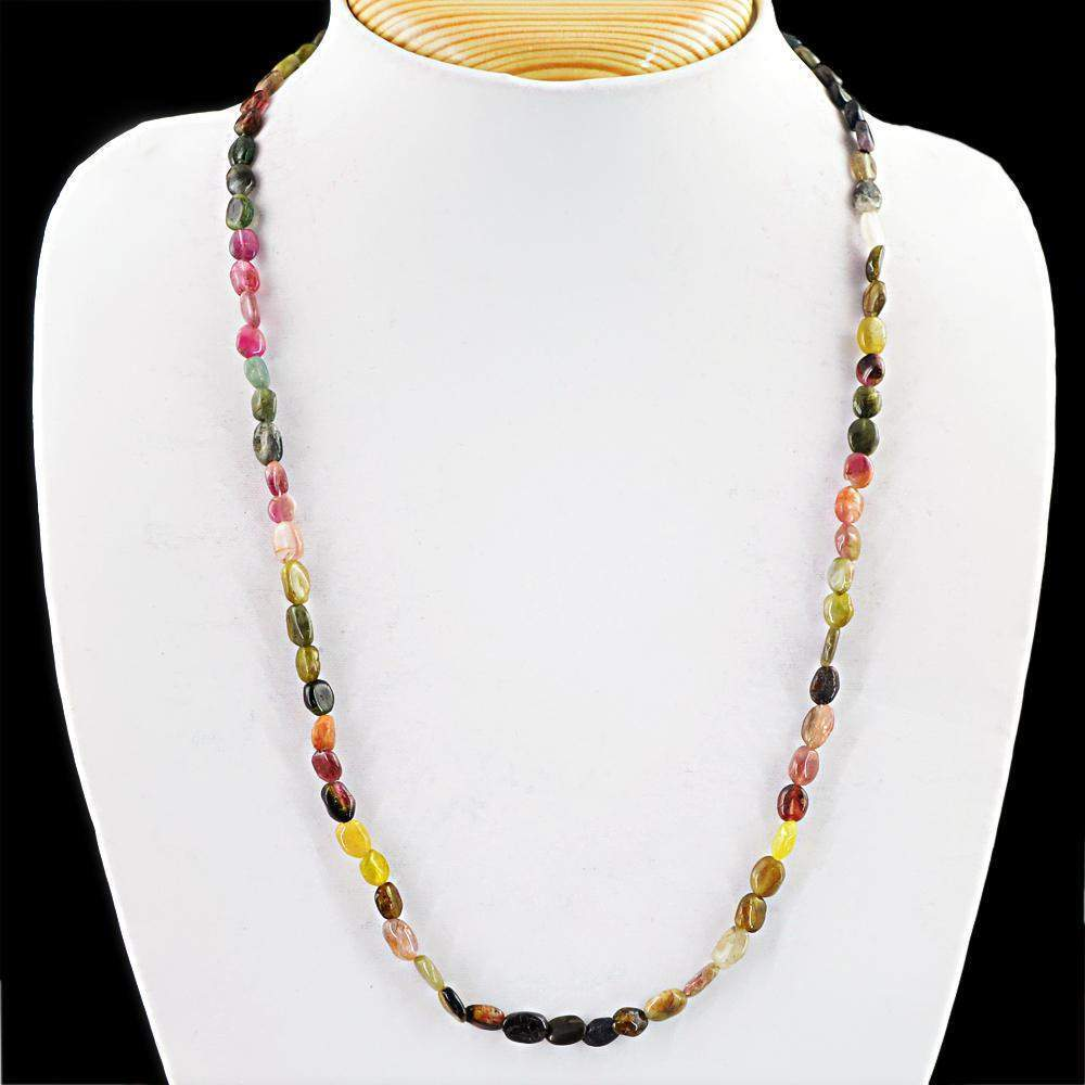 gemsmore:Natural Watermelon Tourmaline Necklace Oval Shape Beads