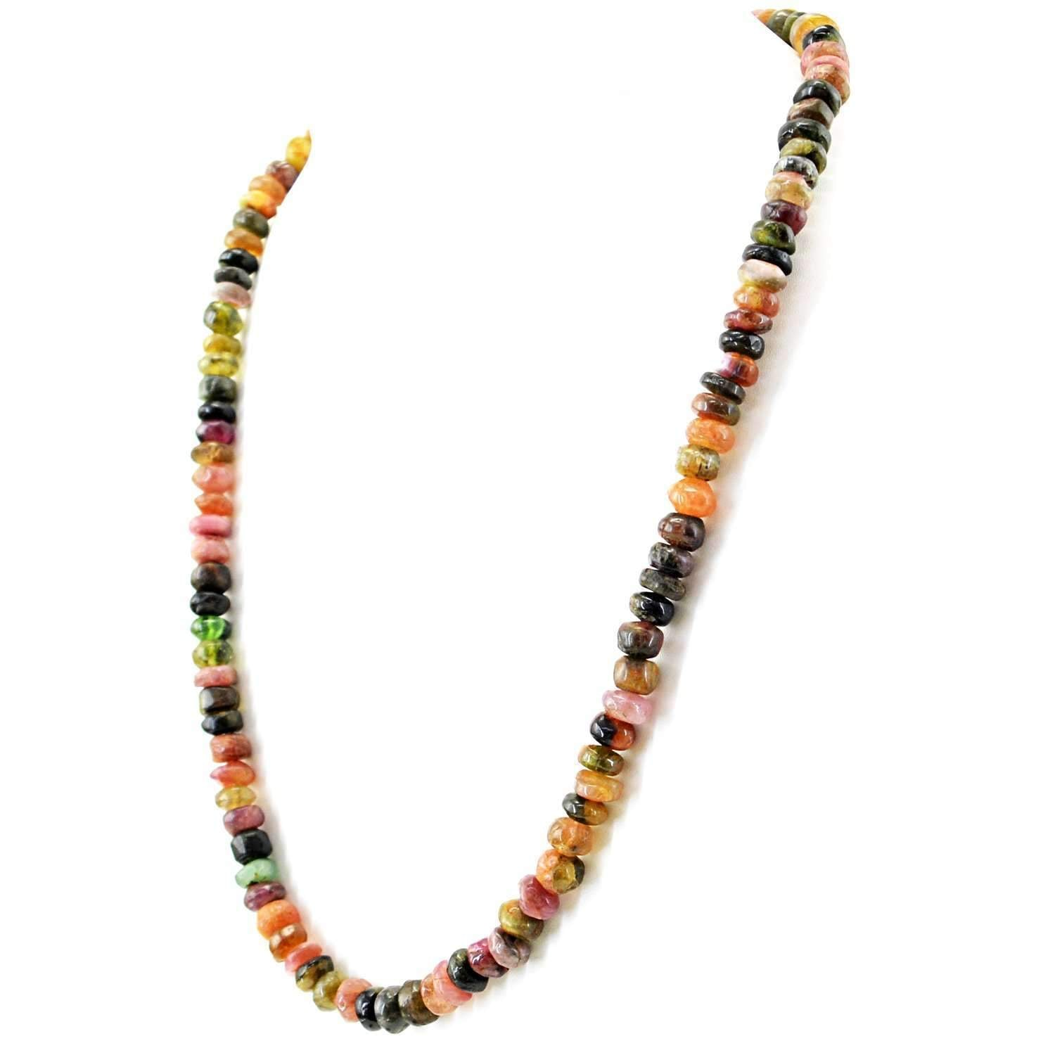 gemsmore:Natural Watermelon Tourmaline Necklace Single Strand Round Beads