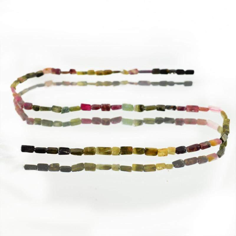 gemsmore:Natural Watermelon Tourmaline Untreated Beads Strand