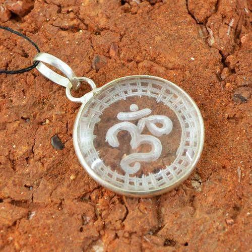 gemsmore:Natural White Quartz Internal Carved OM Pendant