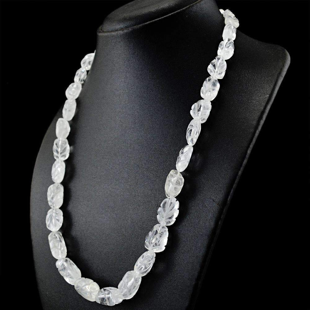 gemsmore:Natural White Quartz Necklace Untreated Carved Beads