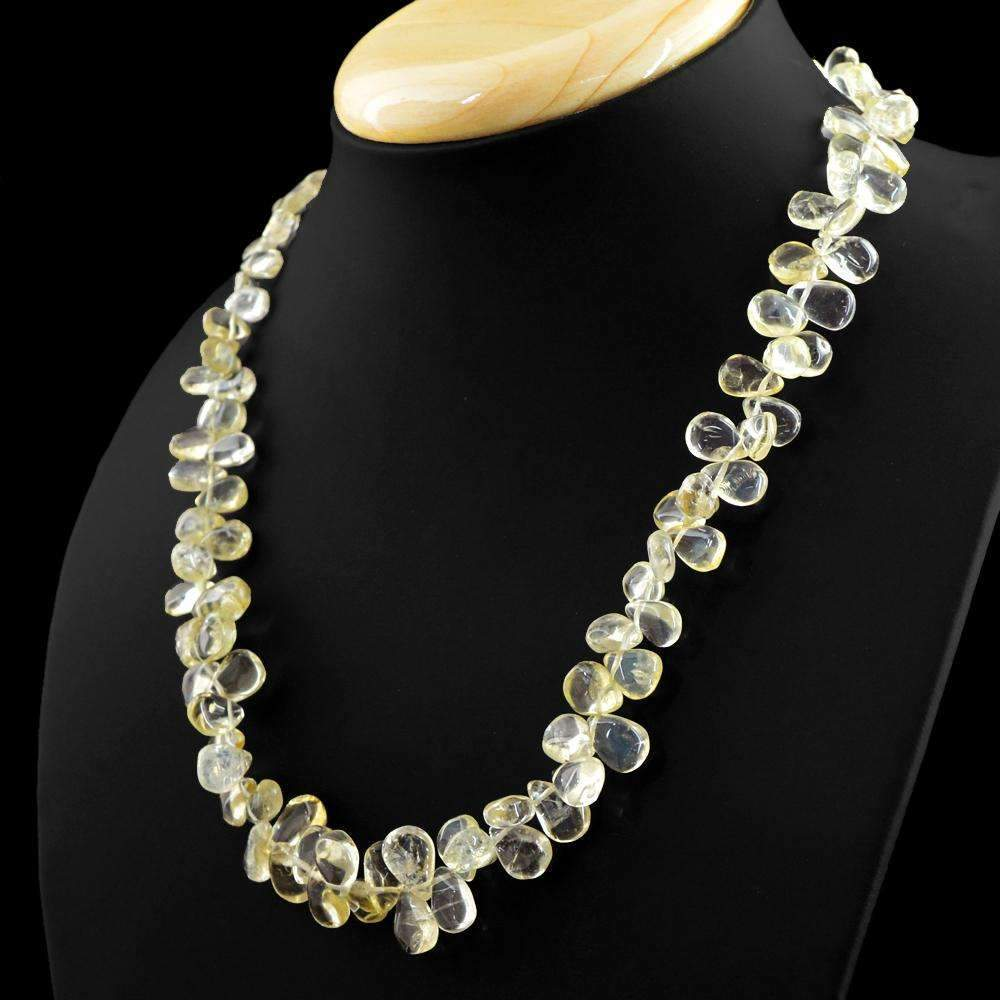 gemsmore:Natural Yellow Citrine Necklace Untreated Tear Drop Beads
