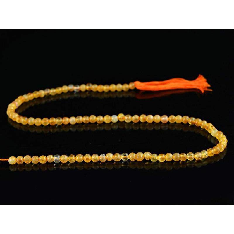 gemsmore:Natural Yellow Citrine Unheated Drilled Beads Strand