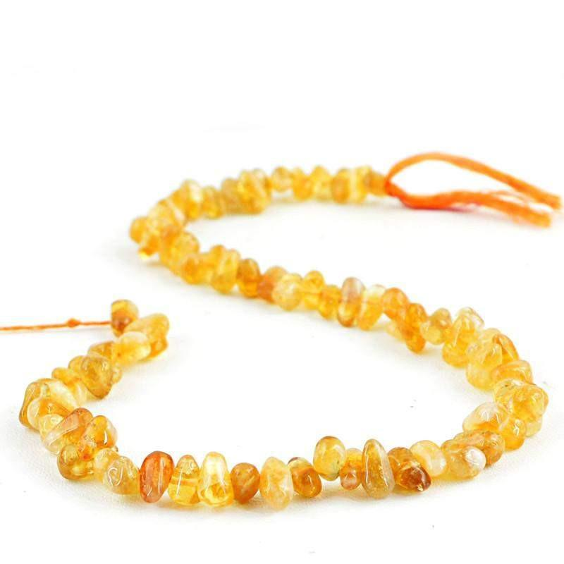 gemsmore:Natural Yellow Citrine Untreated Drilled Beads Strand