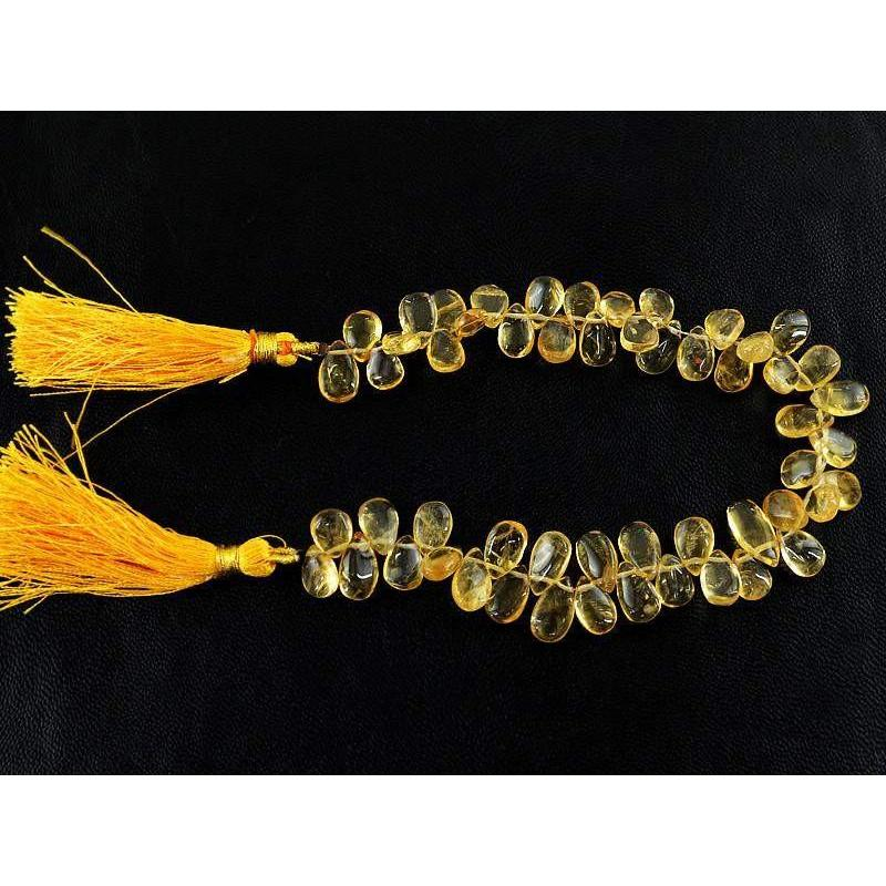 gemsmore:Natural Yellow Citrine Untreated Tear Drop Beads Strand