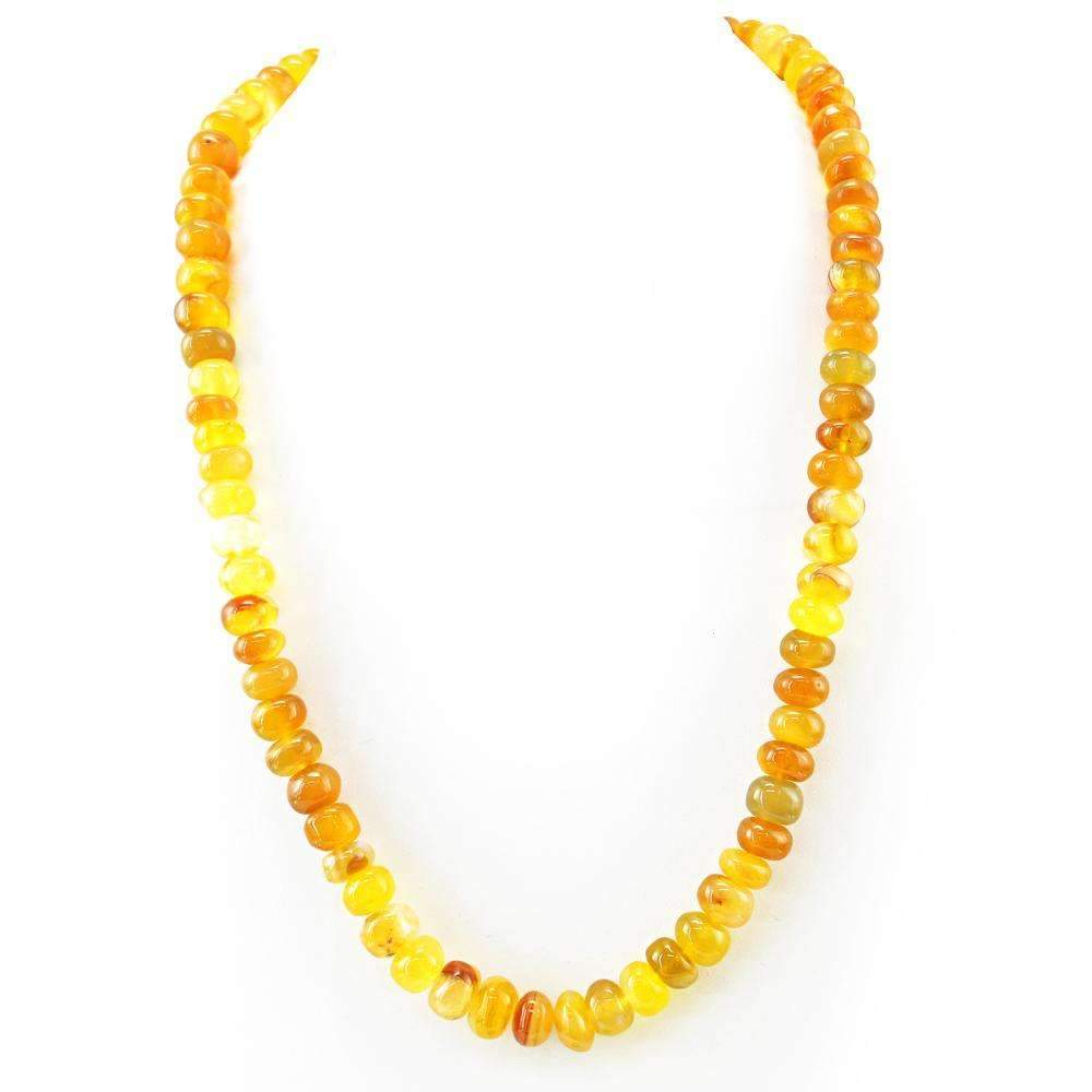 gemsmore:Natural Yellow Onyx Necklace Untreated Round Shape Beads