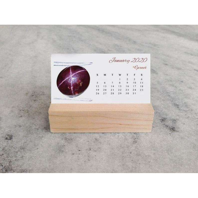 gemsmore:New Year Special 2020 - Mini Crystal Desk Calendar with Wood Stand