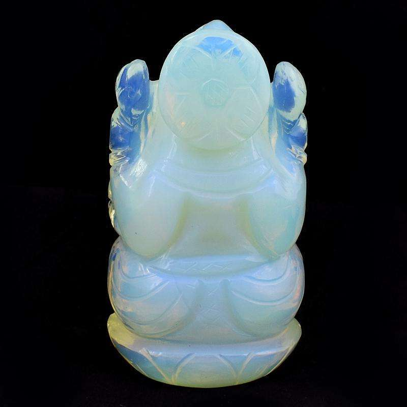 gemsmore:Opalite Color Play Hand Carved Lord Ganesha Idol