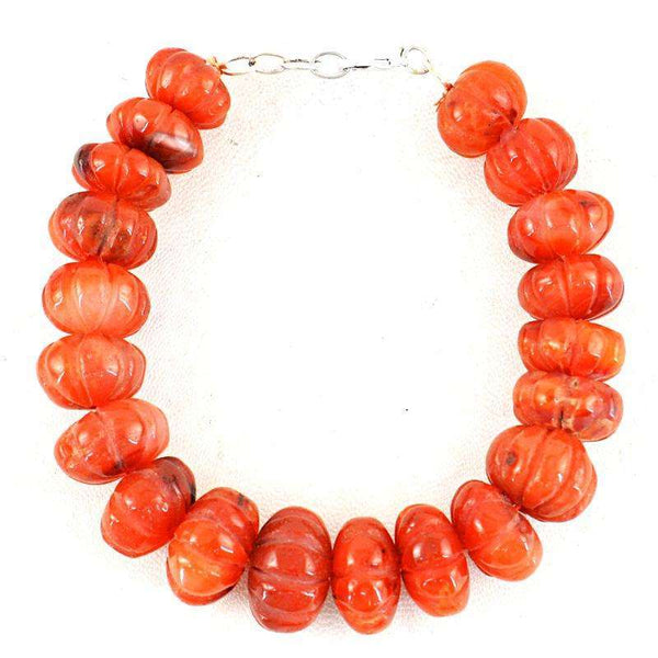 gemsmore:Orange Carnelian Carved Beads Bracelet Natural Round Shape
