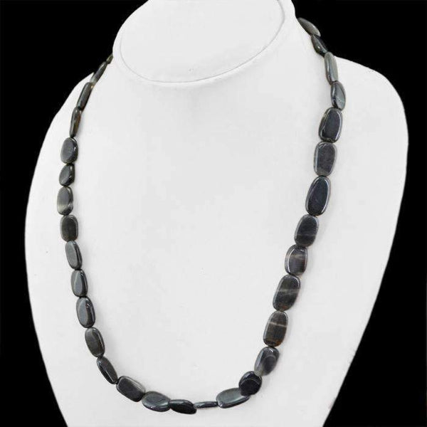 gemsmore:Oval Shape Black Jasper Necklace Natural Untreated Beads