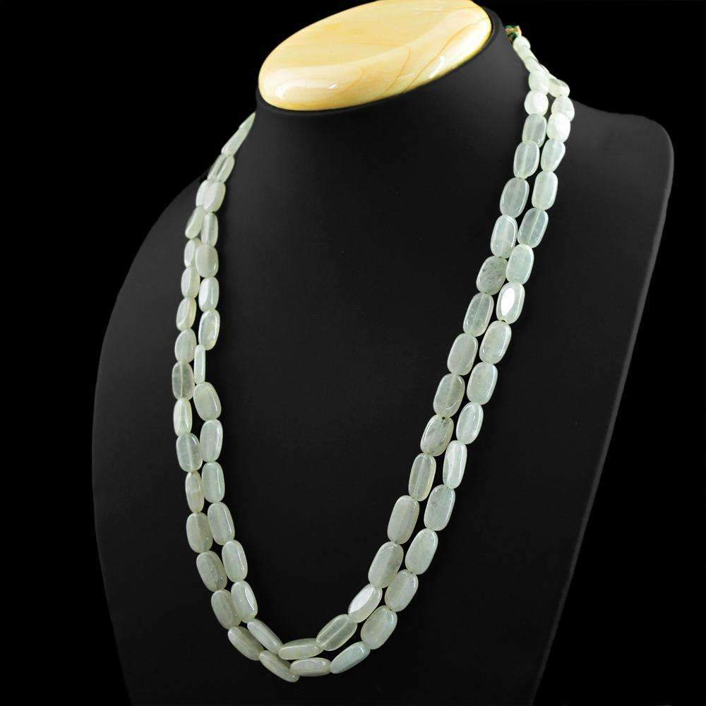 gemsmore:Oval Shape Blue Aquamarine Necklace Natural 2 Strand Untreated Beads