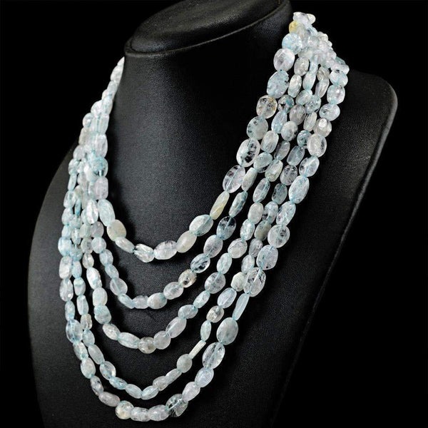 gemsmore:Oval Shape Blue Aquamarine Necklace Natural 5 Line Untreated Beads