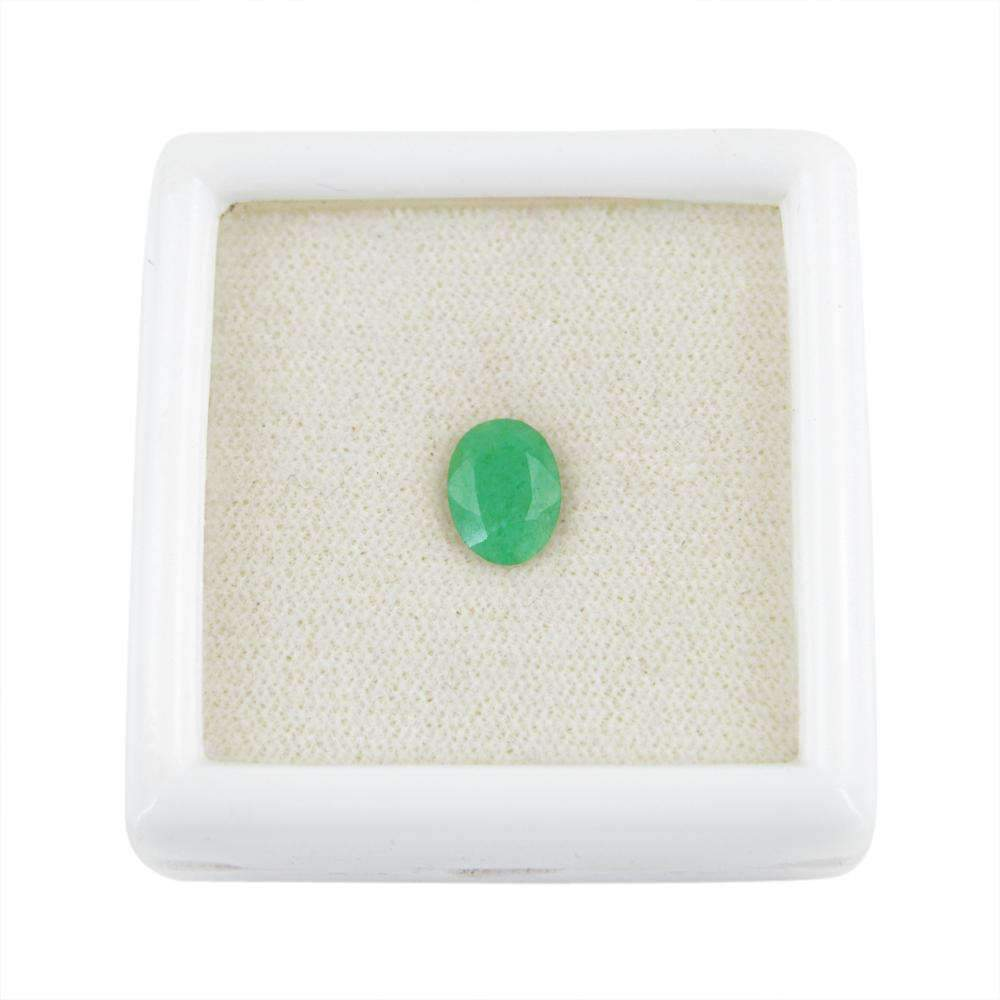 gemsmore:Oval Shape Green Emerald Gemstone Earth Mined Faceted
