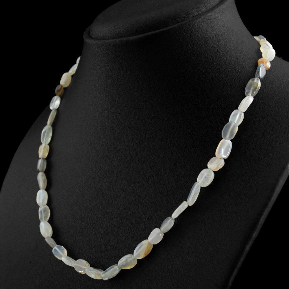 gemsmore:Oval Shape Multicolor Moonstone Necklace Natural Untreated Beads