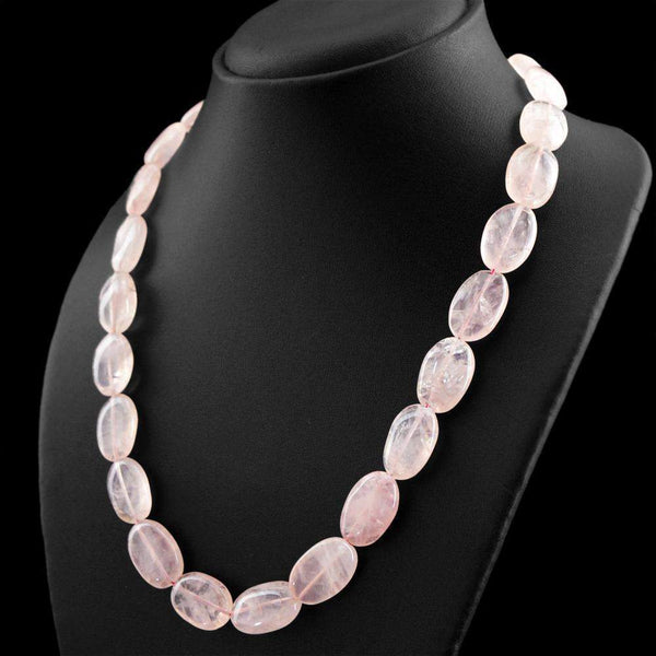 gemsmore:Oval Shape Pink Rose Quartz Necklace Natural Untreated Beads