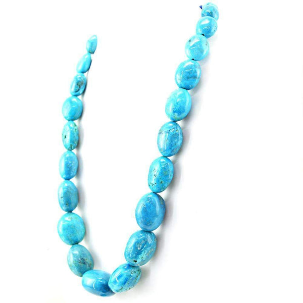 gemsmore:Oval Shape Turquoise Necklace Natural Single Strand Untreated Beads