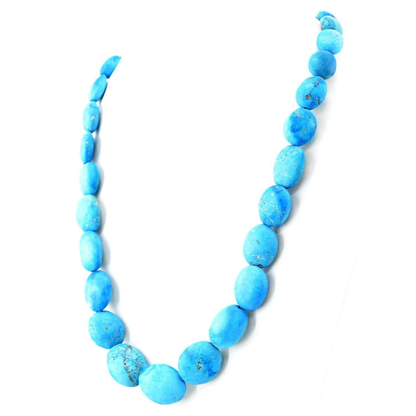 gemsmore:Oval Shape Turquoise Necklace Natural Untreated Beads