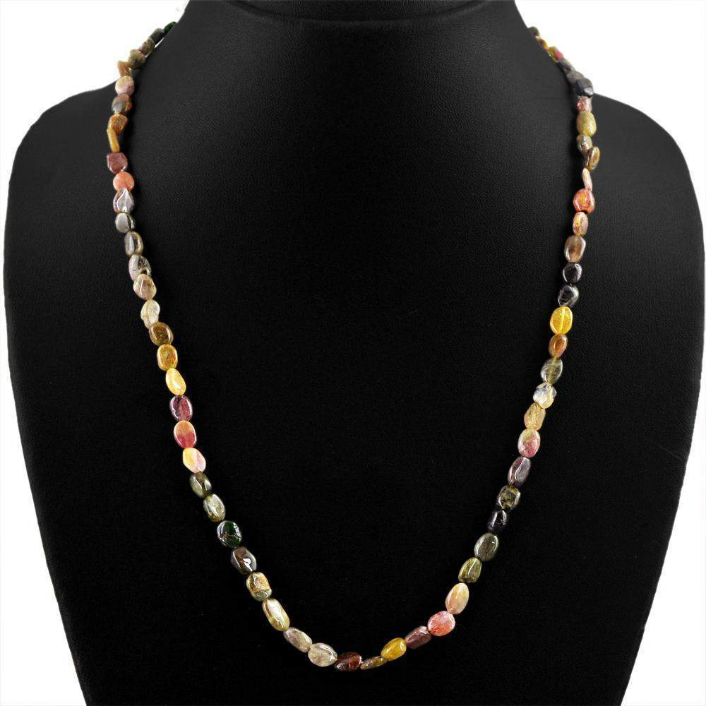 gemsmore:Oval Shape Watermelon Tourmaline Necklace Natural Unheated Beads