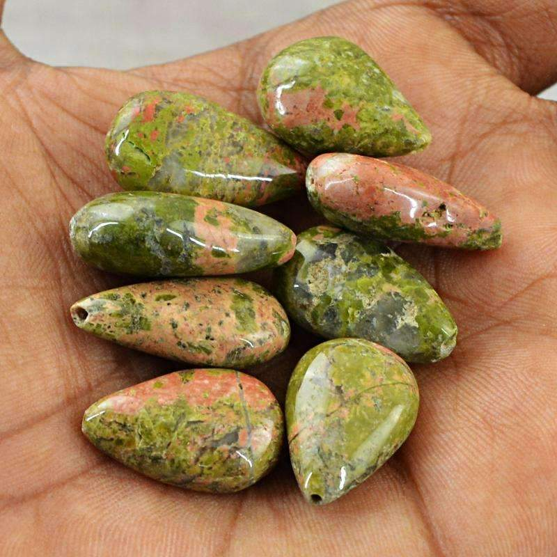 gemsmore:Pear Shape Blood Green Unakite Beads Lot - Natural Drilled