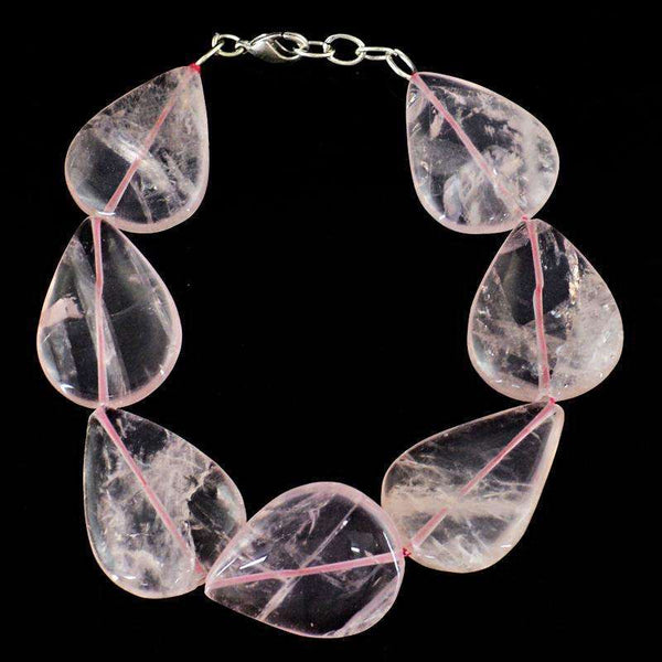 gemsmore:Pear Shape Pink Rose Quartz Beads Bracelet Natural Untreated