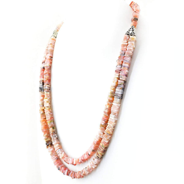 gemsmore:Pink Australian Opal Necklace Natural 2 Strand Genuine Beads