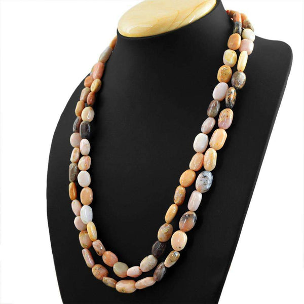 gemsmore:Pink Australian Opal Necklace Natural 2 Strand Oval Shape Beads