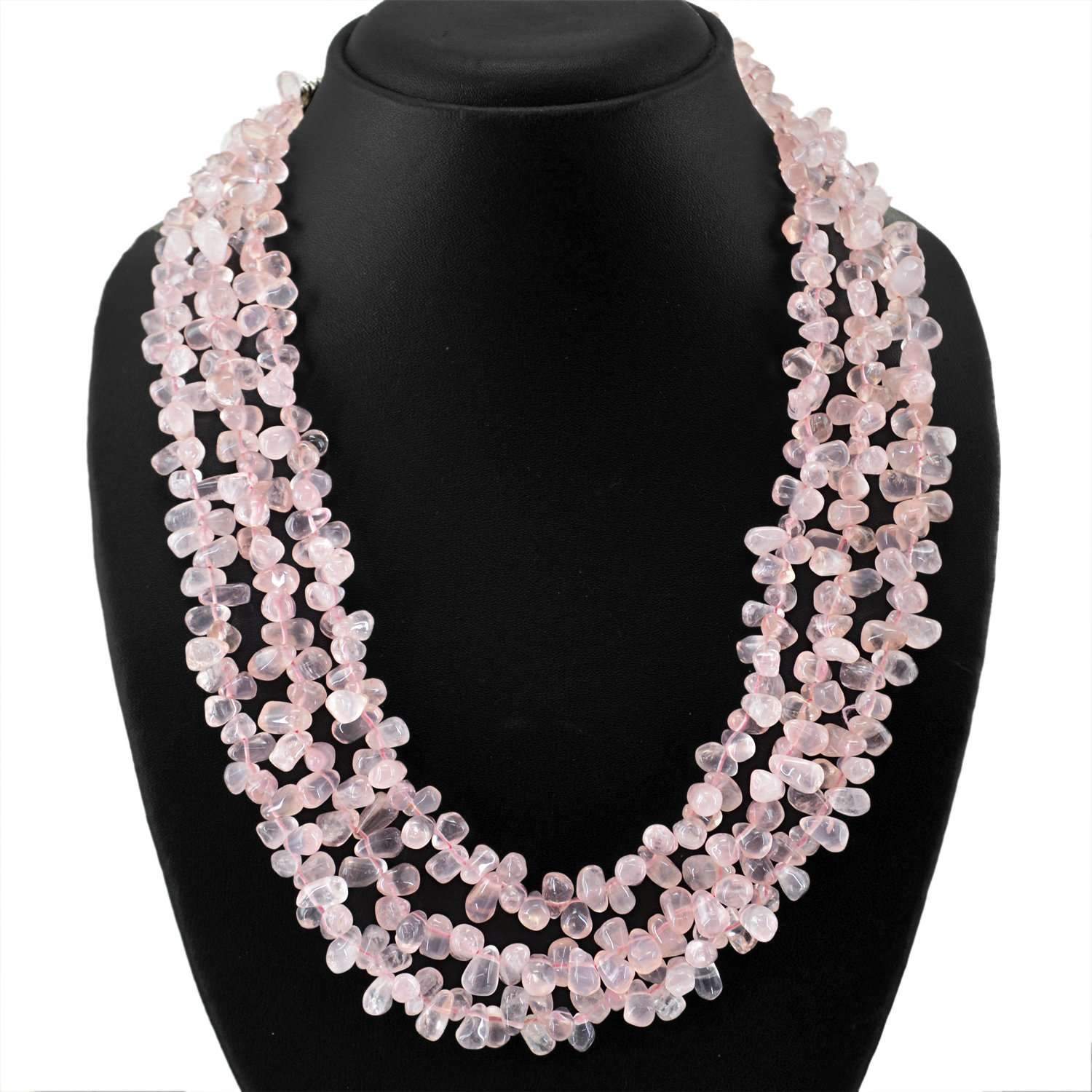 gemsmore:Pink Rose Quartz Necklace 3 Lines Natural Tear Drop Beads