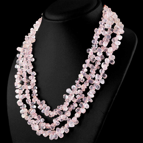 gemsmore:Pink Rose Quartz Necklace Natural 3 Strand Tear drop Beads