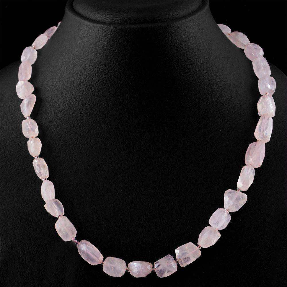 gemsmore:Pink Rose Quartz Necklace Natural Faceted Beads