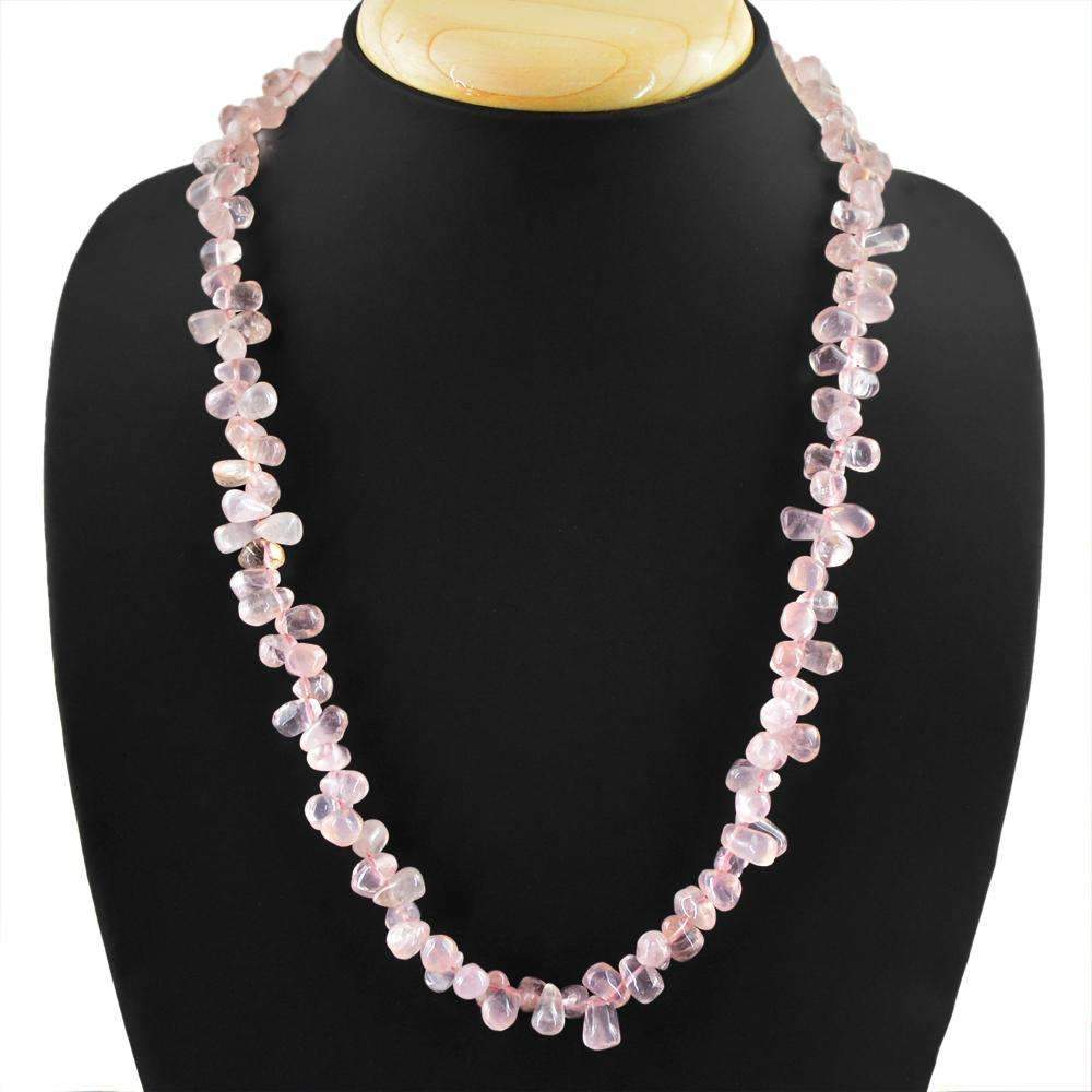 gemsmore:Pink Rose Quartz Necklace Natural Single Strand Tear Drop Beads