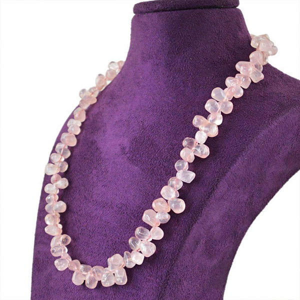 gemsmore:Pink Rose Quartz Necklace Natural Untreated Tear Drop Beads