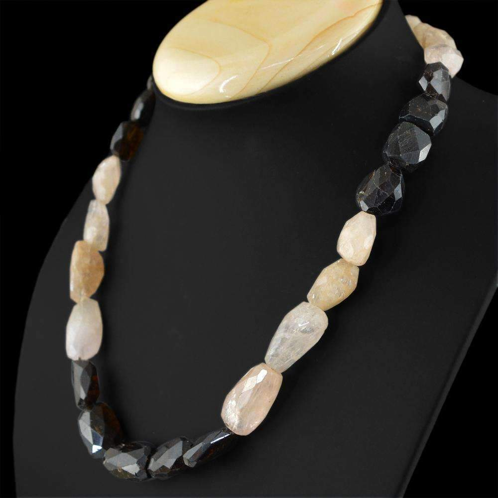 gemsmore:Pink Rose Quartz & Tourmaline Necklace Natural Untreated Faceted Beads