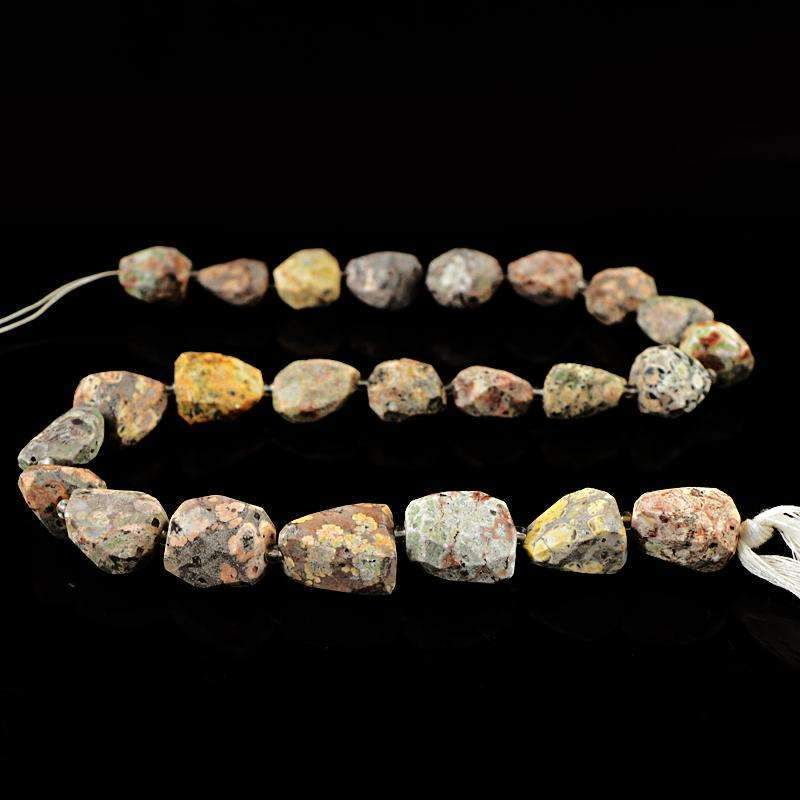 gemsmore:Poppy Jasper Beads Strand Natural Faceted Drilled