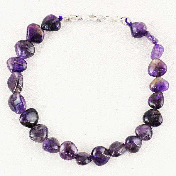 gemsmore:Purple Amethyst Beads Bracelet - Natural Pear Shape