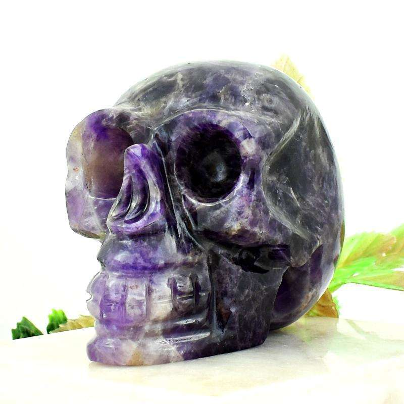 gemsmore:Purple Amethyst Hand Carved Human Skull