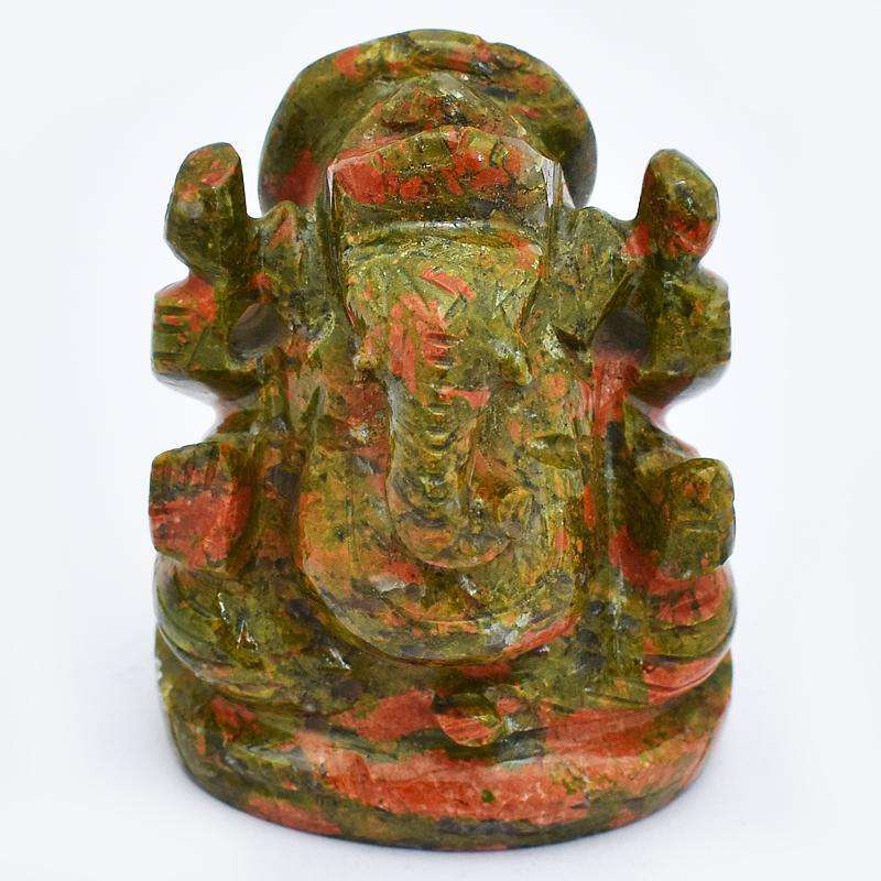 gemsmore:Rare Hand Carved Blood Green Unakite Lord Ganesha Idol