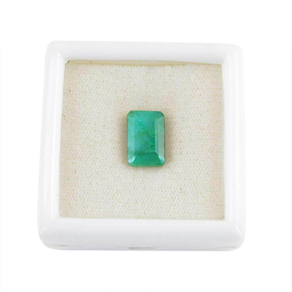 gemsmore:Rectangular Shape Green Emerald Gemstone Earth Mined Faceted
