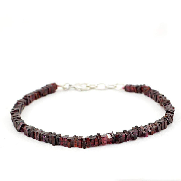 gemsmore:Red Garnet Bracelet Natural Untreated Beads