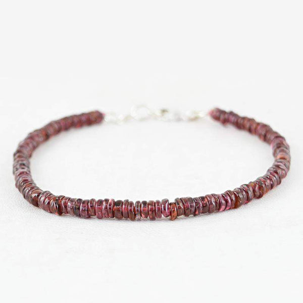 gemsmore:Red Garnet Bracelet Untreated Beads - Natural Round Shape