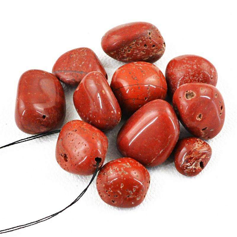 gemsmore:Red Jasper Drilled Beads Lot - Natural Untreated