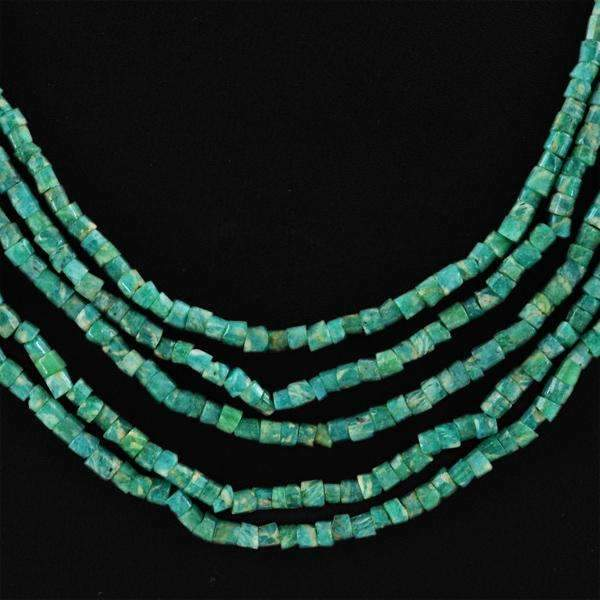 gemsmore:Round Shape Amazonite Necklace Natural 5 Line Untreated Beads