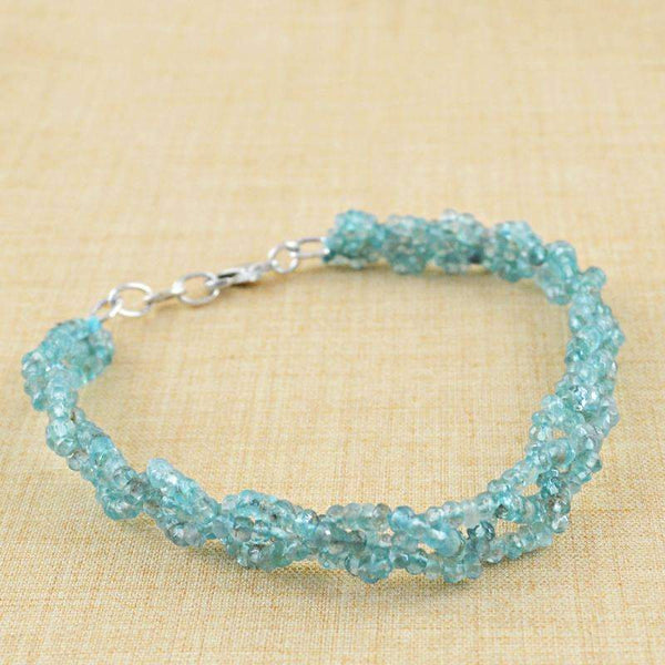 gemsmore:Round Shape Blue Apatite Bracelet Natural Faceted Beads